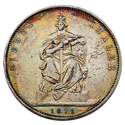 1871 German States Prussia Thaler (AU Condition) KM# 500