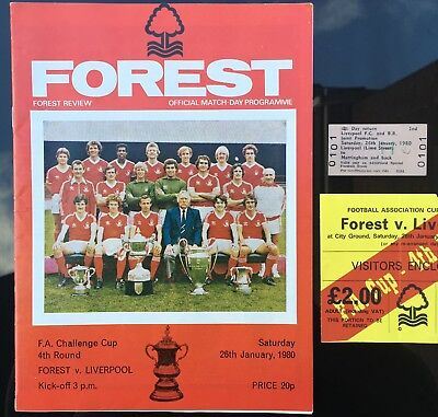 Forest v Liverpool Football Ticket Stub + Prog + Travel FA Cup 4th Rd 26/1/80