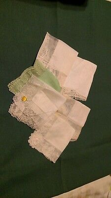 Lot Of 5 Vintage Hankies With Lace  Trim  Handkerchiefs White, off white & green
