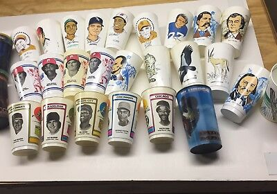 Lot Of 27 Collectible 7-11, 7 Eleven Cups, Baseball, Iron Man, +more