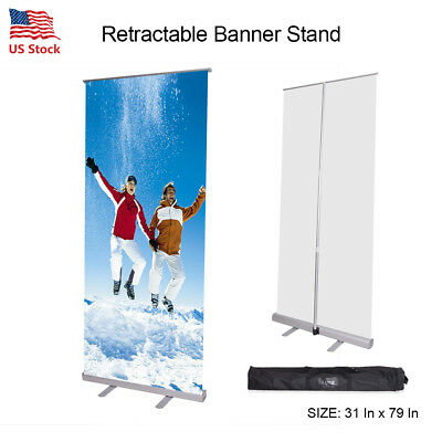 Adjustable 31'' x 79 '' Exhibition Display Roll up Retractable Banner Stand US