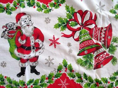 Vintage 50's *ULTIMATE* CHRISTMAS HOLIDAY Cotton Tablecloth Santa, Bells, Holly