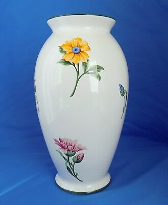 "Vintage TIFFANY & CO White Ceramic  Floral Pattern Large 10.5"" Vase, Portugal"