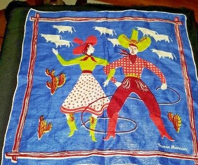 Vintage Neiman Marcus Cowboy & Cowgirl Dancing Handkerchief  With Gift Box