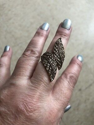 Copper Tone Leaf Ring With White Rhinestones Size 8