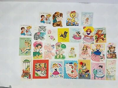 26 Vintage Juvenile Birthday Cards Glitter 3D Boys Girls Not Age Specific Used