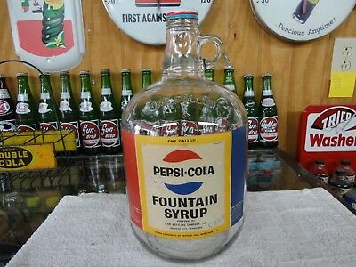Pepsi Soda Fountain Syrup Jug Paper Label W/cap Johnson City Tennessee Clear