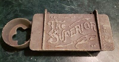 Rare Antique The Superior B-295 Cast Iron Tractor Tool Box With Oil Can Holder
