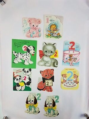 10 Vintage Juvenile Birthday Cards Glitter Boys Girls Age 1 & 2 Used