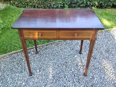 Line Inlaid Solid Mahogany Sheraton Georgian Revival Two Drawer Side Table by Gi