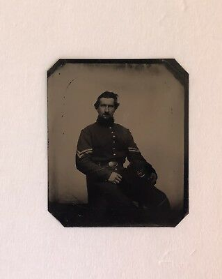 Crisp Civil War Tintype Photo Of Infantry Soldier With Hardee Hat