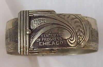 Vintage Antique Art Deco CHICAGO WORLD FAIR 1933 Stamped Silver Bangle Bracelet