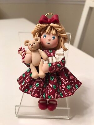 Christmas Ornament Handmade with Fimo Clay, Girl With Teddy Bear And Candy Cane
