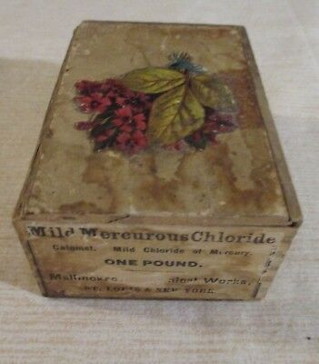 Antique Mild Mercurous Chloride Of Mercury Wood Box One Pound Empty Box