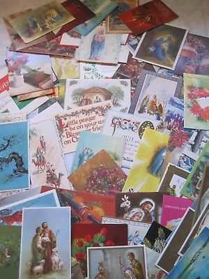 Huge Lot Of 67 Vintage Used Christmas Cards Scrap Booking, Crafts, Decopage