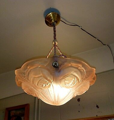 Rare 1920's signed DEGUE France Art Deco Soft Pink Pendant Chandelier Perfect