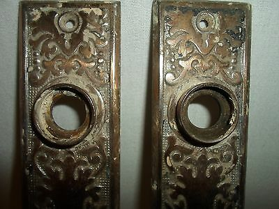 set of 2 matching Eastlake / Victorian door back plates!!! Brass plated!!! # 3