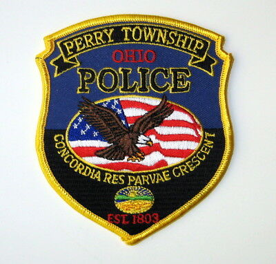 Perry Township Ohio Police Patch Eagle US Flag Stark County Ohio Patch OH