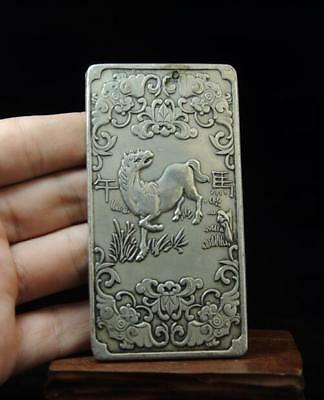 Old Tibet Copper Plating Silver Chinese Zodiac Horse Statue Amulet Thangka 01