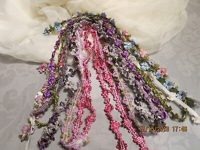 Vgt MIXED assortment  RIBBON  WORK ROSETTE DAISY TRIMS  TINY FLOWERS ROCOCO