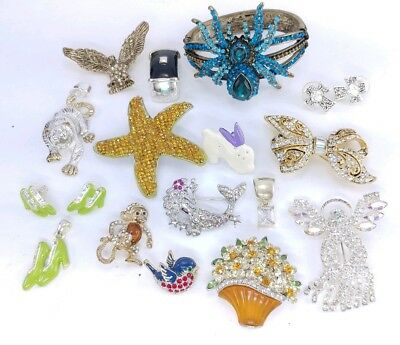 High End Estate Costume Rhinestone Jewelry Brooch Pin Animal vintage Lot 6