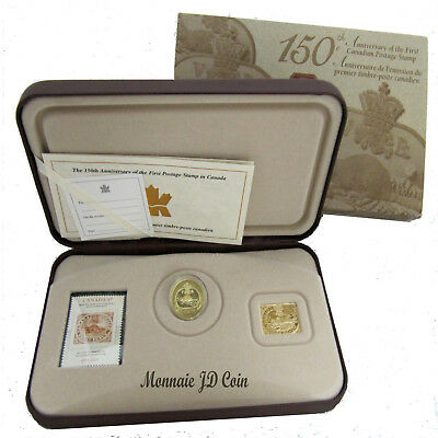 2001 Canada 3 Cent Sterling Silver Coin Gold Plated Stamp 150th Anniversary Set
