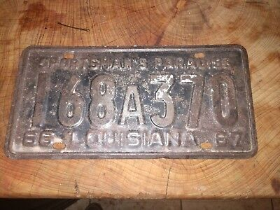 1966 Louisiana 1967 Distressed License Plate 168a370