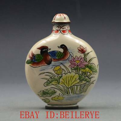 Antique Chinese Copper Cloisonne Handmade Lotus Snuff Bottles w Qian Long Mark