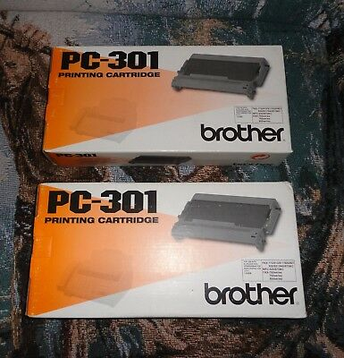 Two (2) NEW Genuine Brother PC-301 Fax Cartridges