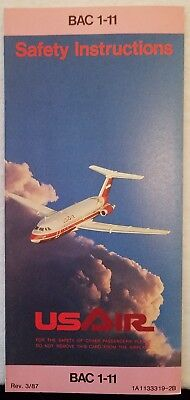 Usair Airlines Safety Card - Bac 1-11 - Interaction Research Code 344 Rev. 3/87