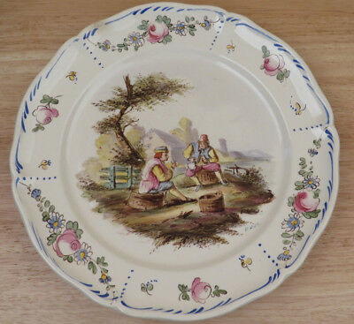 Antique French Lille Majolica Faience Plate Pipe Hand Painted Signed E.Duc  R