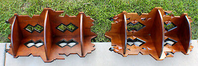 Antique Hand Carved Eastlake Wood  Pair of Corner Shelves circa 1890's East Lake