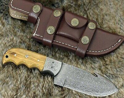 "Damascus Knife Damascus Steel hunting Knife 8"" Olive Wood handle full tang"