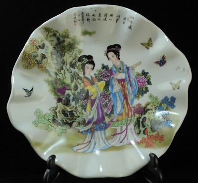 china old famille-rose porcelain portrait of lady portrait plate /yongzheng mark