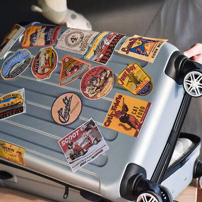 Vintage Style Airline Travel Suitcase Luggage Labels Set Of 6 vinyl stickers RS