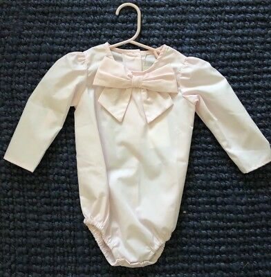 TBBC Beatrice Bow Blouse In Plantation Pink- Size 12-18 Mo