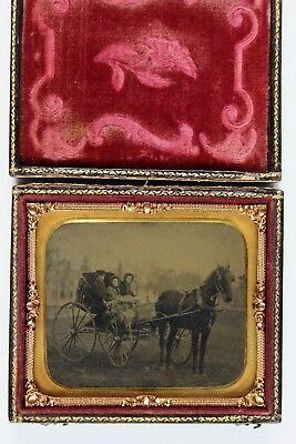Amazing Sharp Cased Tintype Outdoor of family in Horse Drawn Carriage 1/6 plate