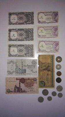 Egypt 10 Coins & 9 Notes. From 1916 to 1990s.