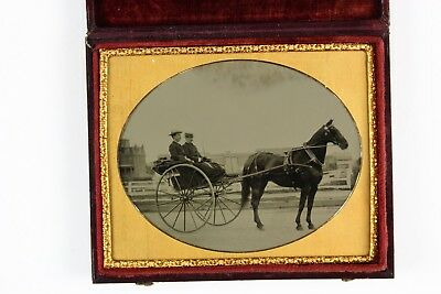 """Fantastically sharp horse drawn Carriage Half Plate Tintype Sign for """"Hermitage"""""""