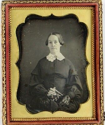 1/4 pl Daguerreotype of Woman Holding Tinted Mother of Pearl Case, ID Buffalo NY