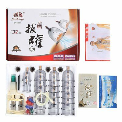 32 Cups Chinese Vacuum Cupping Set Massage Body Therapy Suction Acupuncture AU