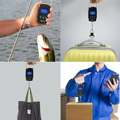 Portable Digital LCD Travel Fish Hook Hanging Scale Electronic Luggage Weight