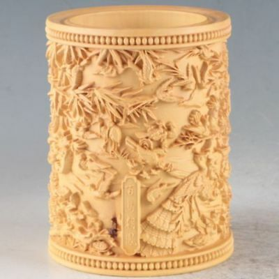 Chinese Bamboo Hand Carved Birds Brush Pot