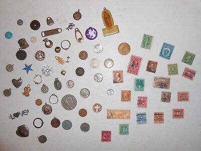 OLD JUNK DRAWER LOT_ Old Jewelry ITEMS, U.S.A.Coins, 1941 Mercury Dime 1895 cent