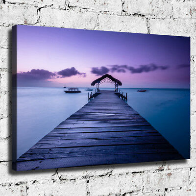 Purple Seascape Painting HD Canvas prints Home Decor Picture Wall art Poster