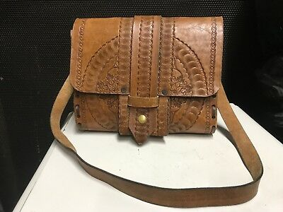 VINTAGE RETRO LEATHER HANDBAG MAN BAG SATCHEL PURSE 1970s