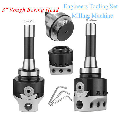 Silver 3'' Rough Boring Head with R8 Shank Engineers Tooling Set Milling Machine