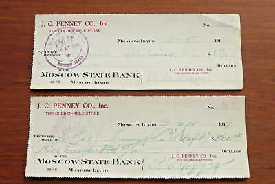 """Antique 1919  """"Moscow State Bank""""  Idaho ~ J.C. Penney Co.  2 Cancelled Checks"""