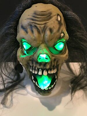 Zombie Ghoul Halloween Mask Prop Eyes Nose Mouth Light Up! Cryptkeeper One Size