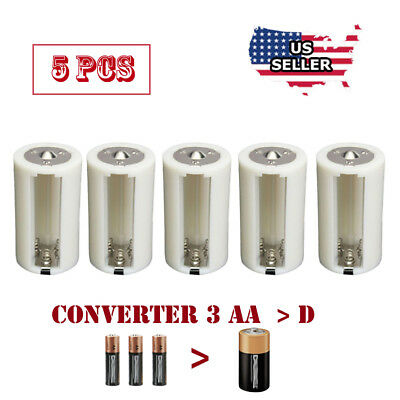 1.5V  AA to D Battery Adapters Converter Cases Plastic Parallel 3AA to 1D 5 Pcs